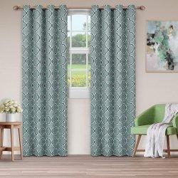 Superior Teal Bohemian Trellis Blackout Insulated Grommet Curtains 2 Panels