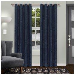 Navy Blue Shimmer Room Darkening Noise Reducing Thermal Blackout Curtain Set