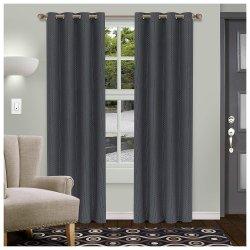 Gray Shimmer Room Darkening Noise Reducing Thermal Blackout Curtain Set