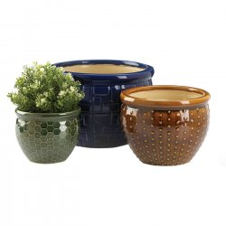 Designer Trio Ceramic Flower Pots Unique Design Large, Medium & Small