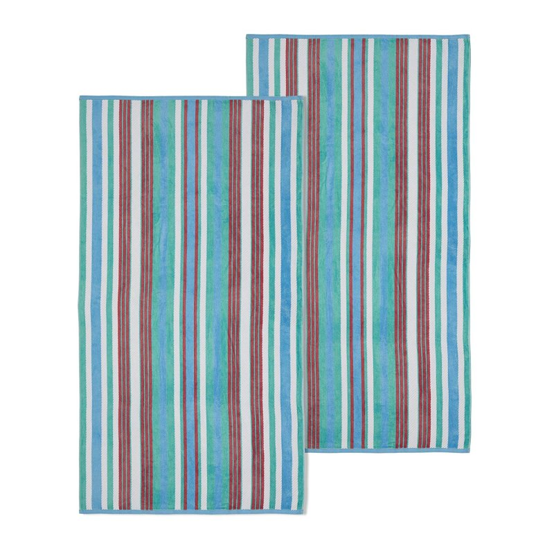 Image 0 of Set of 2 Aqua Striped Rope Textured Beach Towels 100% Cotton 550 GSM 33