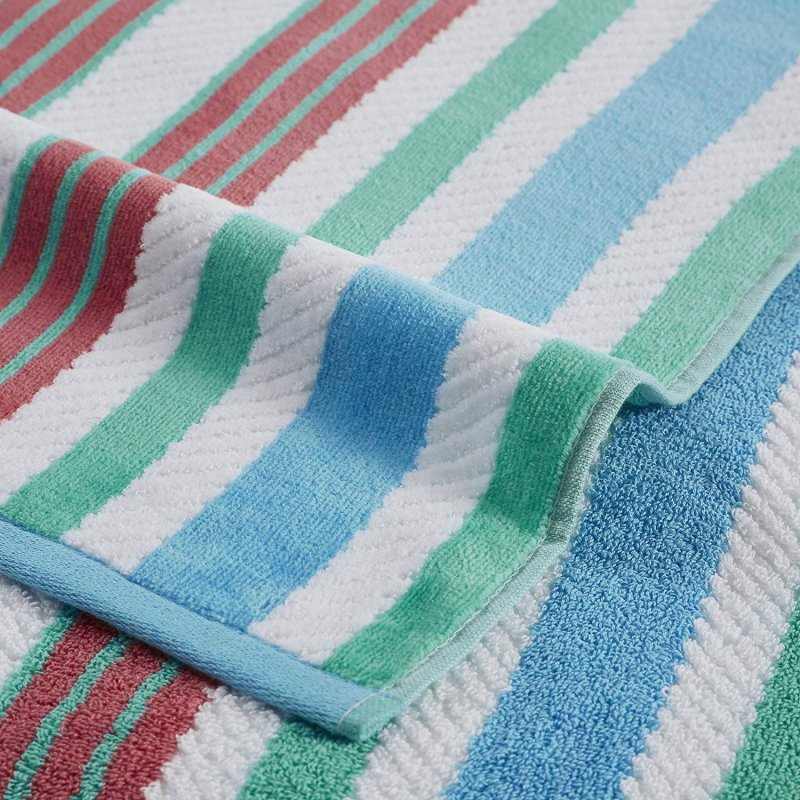 Image 1 of Set of 2 Aqua Striped Rope Textured Beach Towels 100% Cotton 550 GSM 33