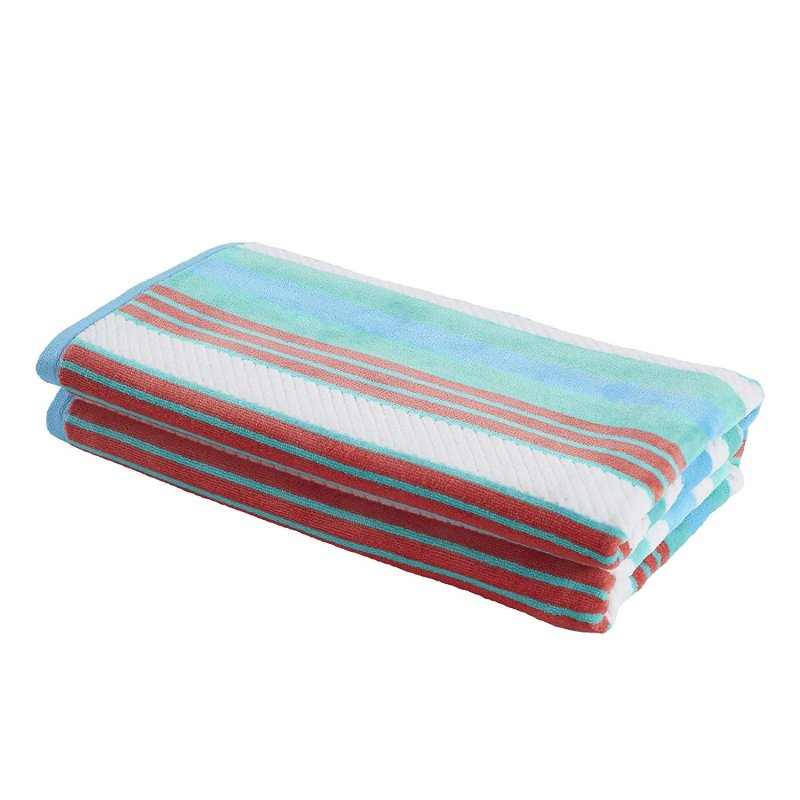 Image 2 of Set of 2 Aqua Striped Rope Textured Beach Towels 100% Cotton 550 GSM 33