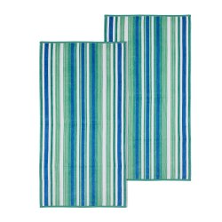 Atlantis Striped Rope Textured Beach Towels 100% Cotton 550 GSM 34x64 Set of 2