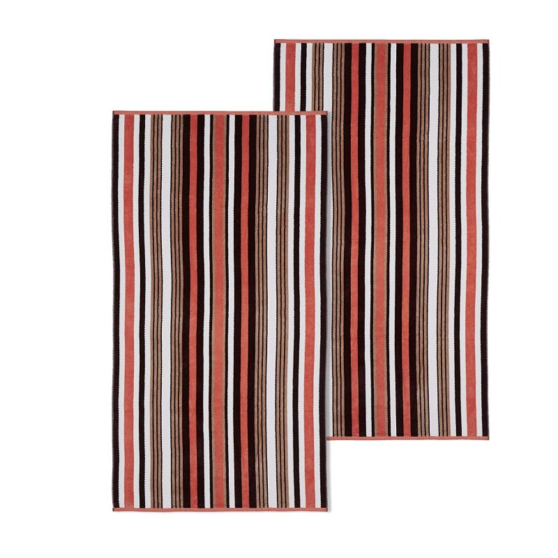 Image 0 of Set of 2 Brown Rope Striped Textured Beach Towels 100% Cotton 550 GSM 33