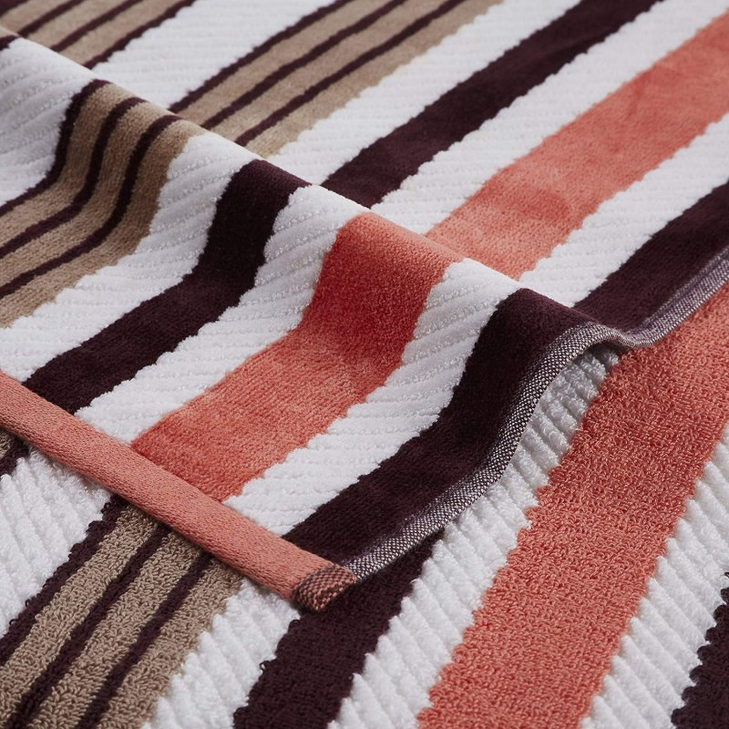 Image 1 of Set of 2 Brown Rope Striped Textured Beach Towels 100% Cotton 550 GSM 33