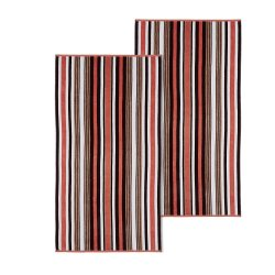 Set of 2 Brown Rope Striped Textured Beach Towels 100% Cotton 550 GSM 33 x 64