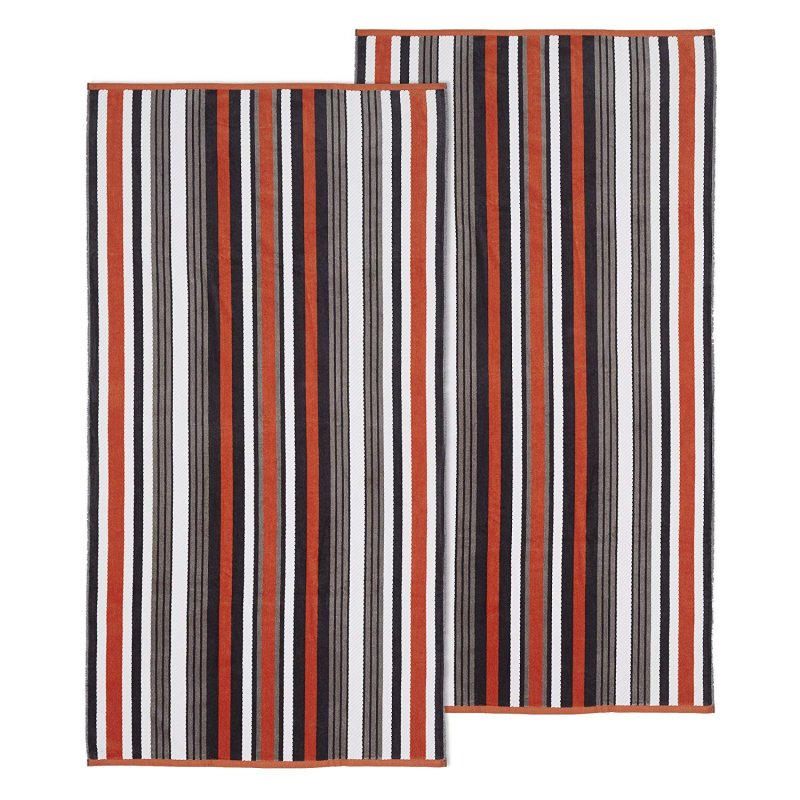 Image 0 of Set of 2 Gray Striped Rope Textured Beach Towels 100% Cotton 550 GSM 33