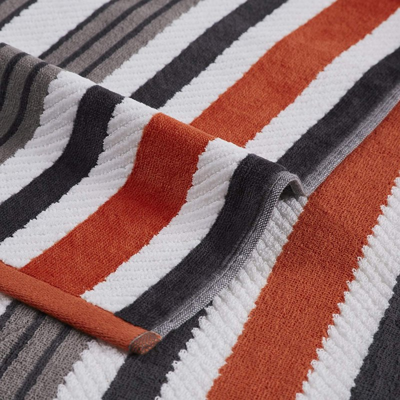Image 1 of Set of 2 Gray Striped Rope Textured Beach Towels 100% Cotton 550 GSM 33