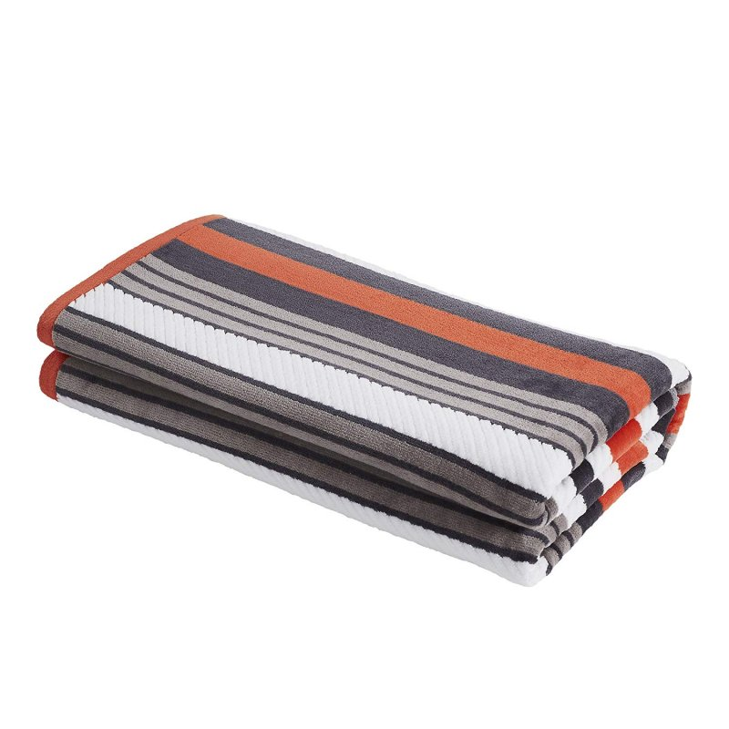 Image 2 of Set of 2 Gray Striped Rope Textured Beach Towels 100% Cotton 550 GSM 33