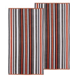 Set of 2 Gray Striped Rope Textured Beach Towels 100% Cotton 550 GSM 33x64