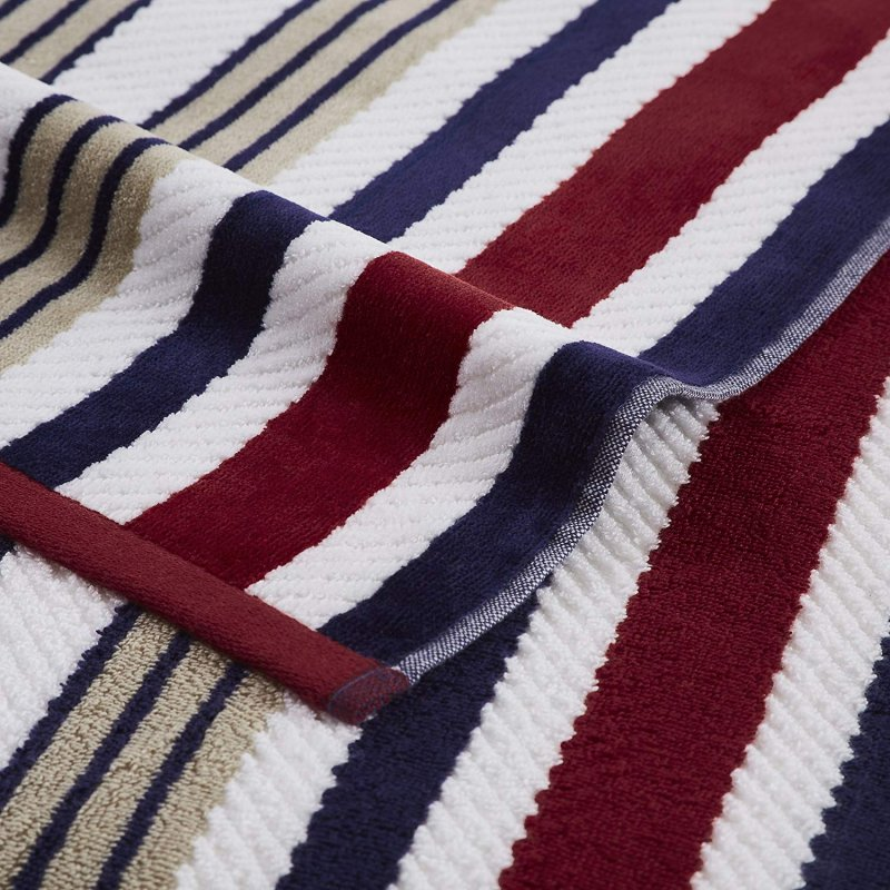 Image 1 of Set of 2 Red Rope Striped Textured Beach Towels 100% Cotton 550 GSM 33
