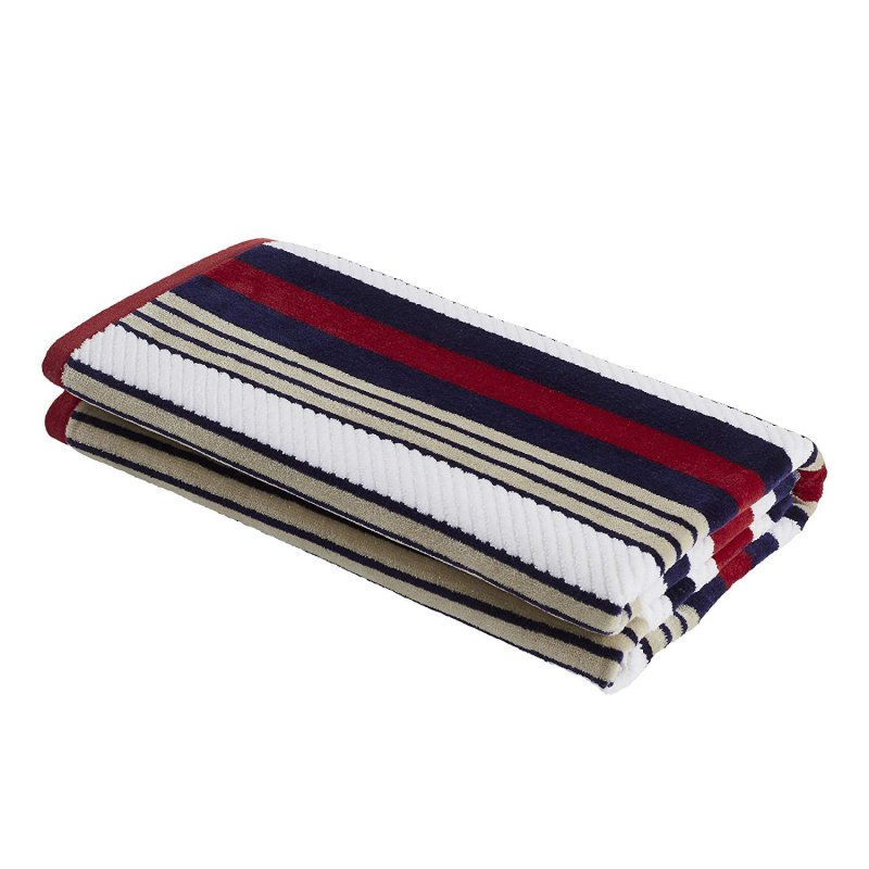 Image 2 of Set of 2 Red Rope Striped Textured Beach Towels 100% Cotton 550 GSM 33