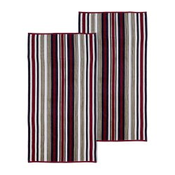 Set of 2 Red Rope Striped Textured Beach Towels 100% Cotton 550 GSM 33 x 64