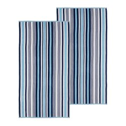 Set of 2 Sky Blue Striped Rope Textured Beach Towels 100% Cotton 550 GSM 33x64