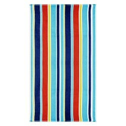 Oceana Blue Striped Over-Sized Beach Towels 100% Cotton 450 GSM 34 x 64