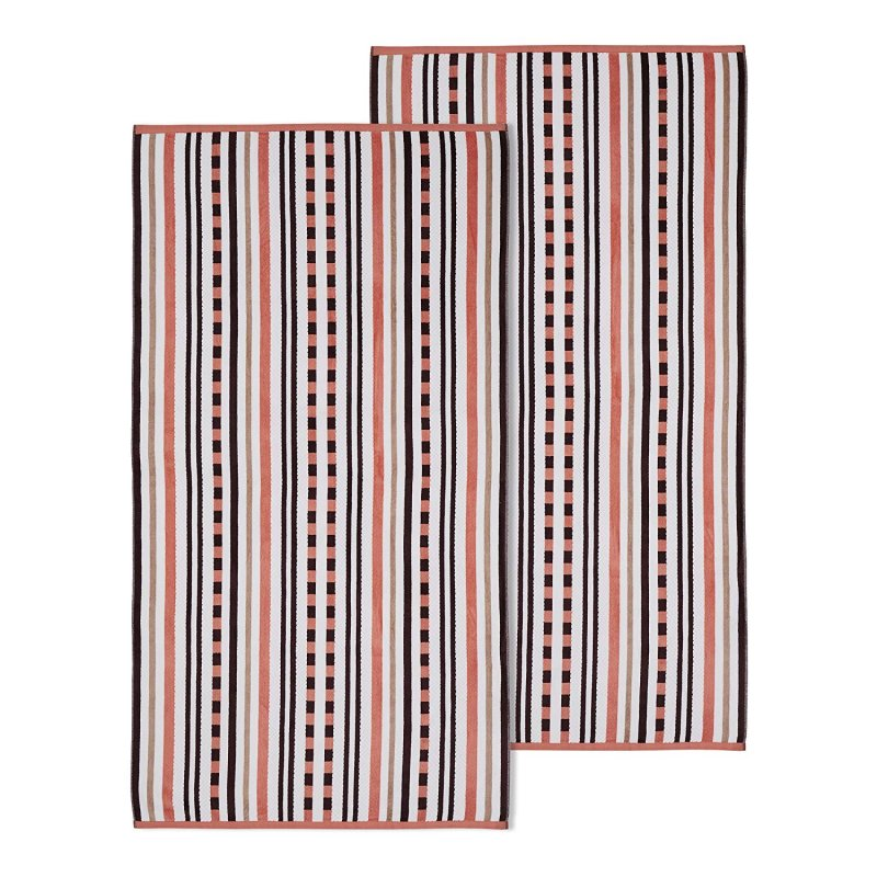Image 0 of 2 Emberglow Striped Stitch Textured Beach Towels 100% Cotton 550 GSM 34