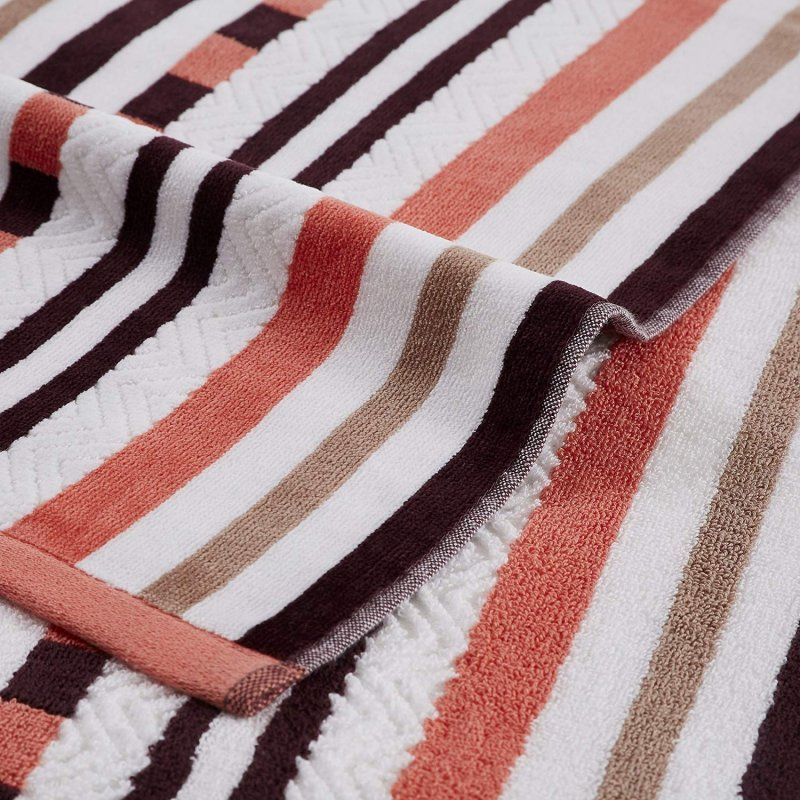 Image 1 of 2 Emberglow Striped Stitch Textured Beach Towels 100% Cotton 550 GSM 34