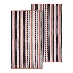 2 Emberglow Striped Stitch Textured Beach Towels 100% Cotton 550 GSM 34x64
