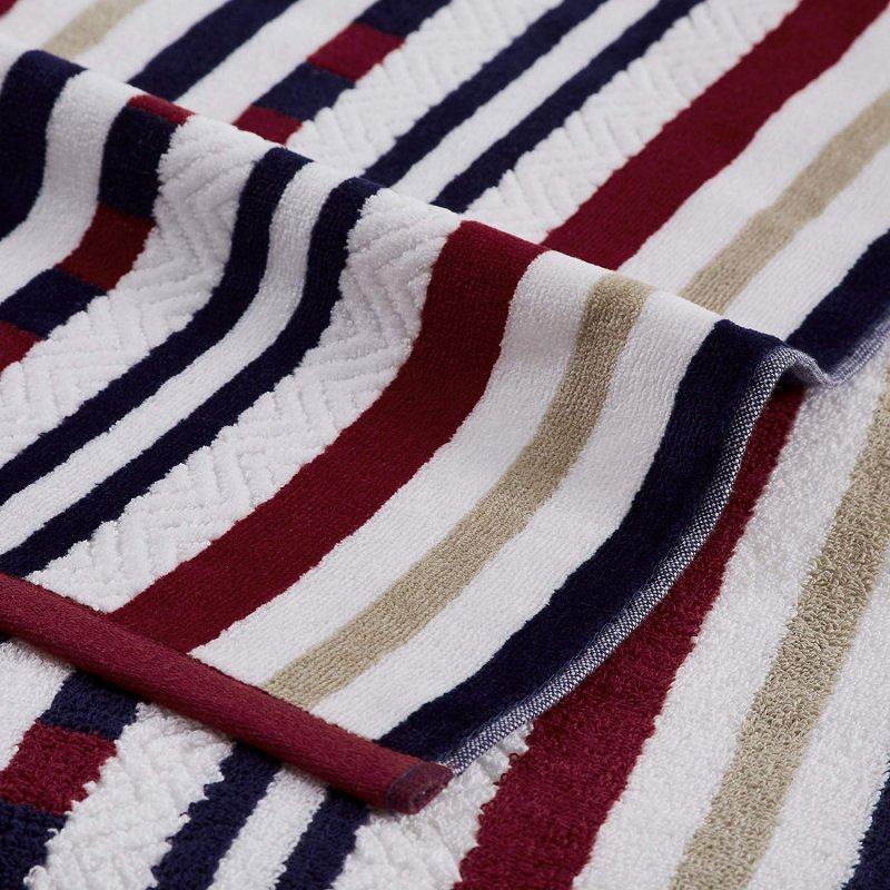 Image 1 of 2 Red Striped Stitch Textured Beach Towels 100% Cotton 550 GSM 34