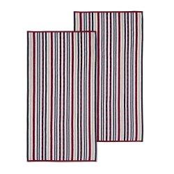2 Red Striped Stitch Textured Beach Towels 100% Cotton 550 GSM 34x64
