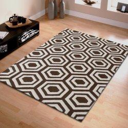 Brown & Ivory Geometric Design  Hand Tufted Wool Area Rug 5' x 8'