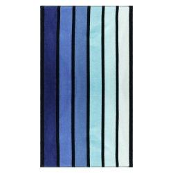 Superior Faded Blue Striped Beach Towel 100% Premium Cotton 450 GSM  34 x 64