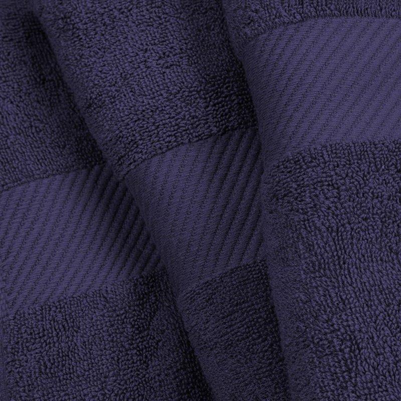 Navy Blue Egyptian Cotton Right Hash Dobby Border Towel Set
