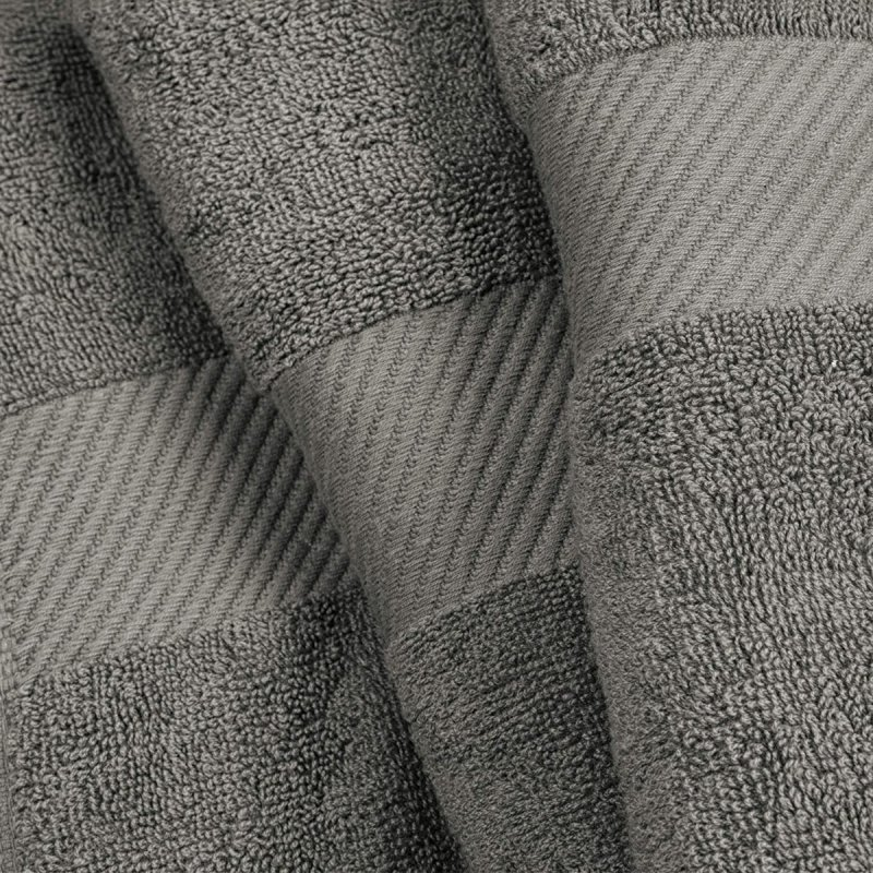Smoked Pearl Egyptian Cotton Right Hash Dobby Border Towel Set