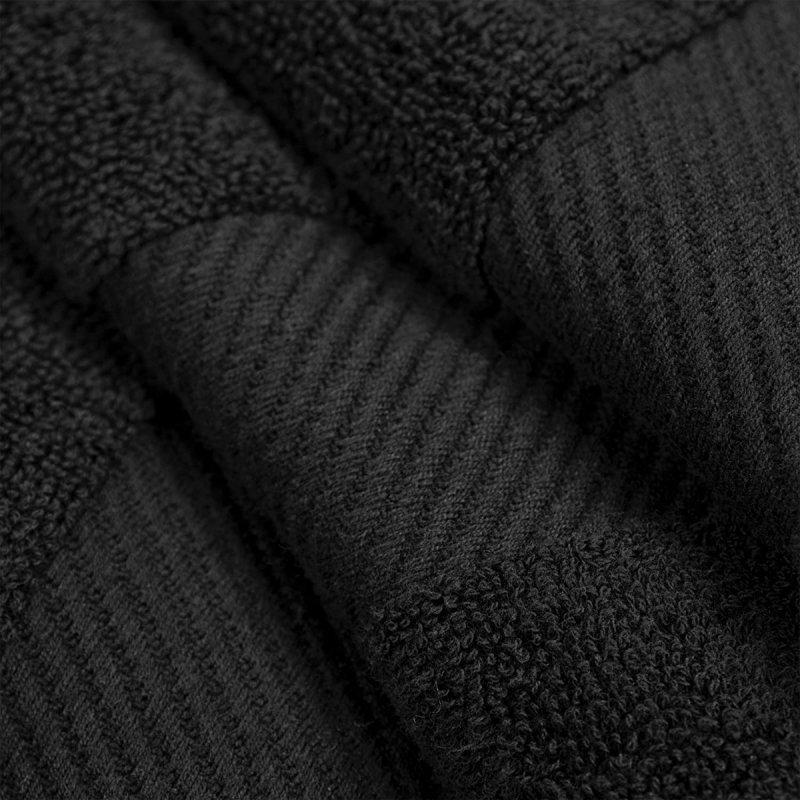 Black Egyptian Cotton Right Hash Dobby Border Towel Set