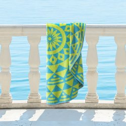 Molinillo 100% Cotton Geometric Mandala Bohemian Round Beach Towel, 60 Green