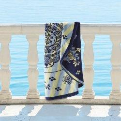 Rangoli 100% Cotton Medallion Mandala Round Beach Towel, 60 Navy Blue