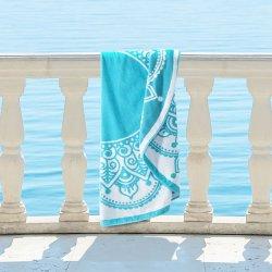 Lotus 100% Cotton Mandala Bohemian Round Beach Towel, 60