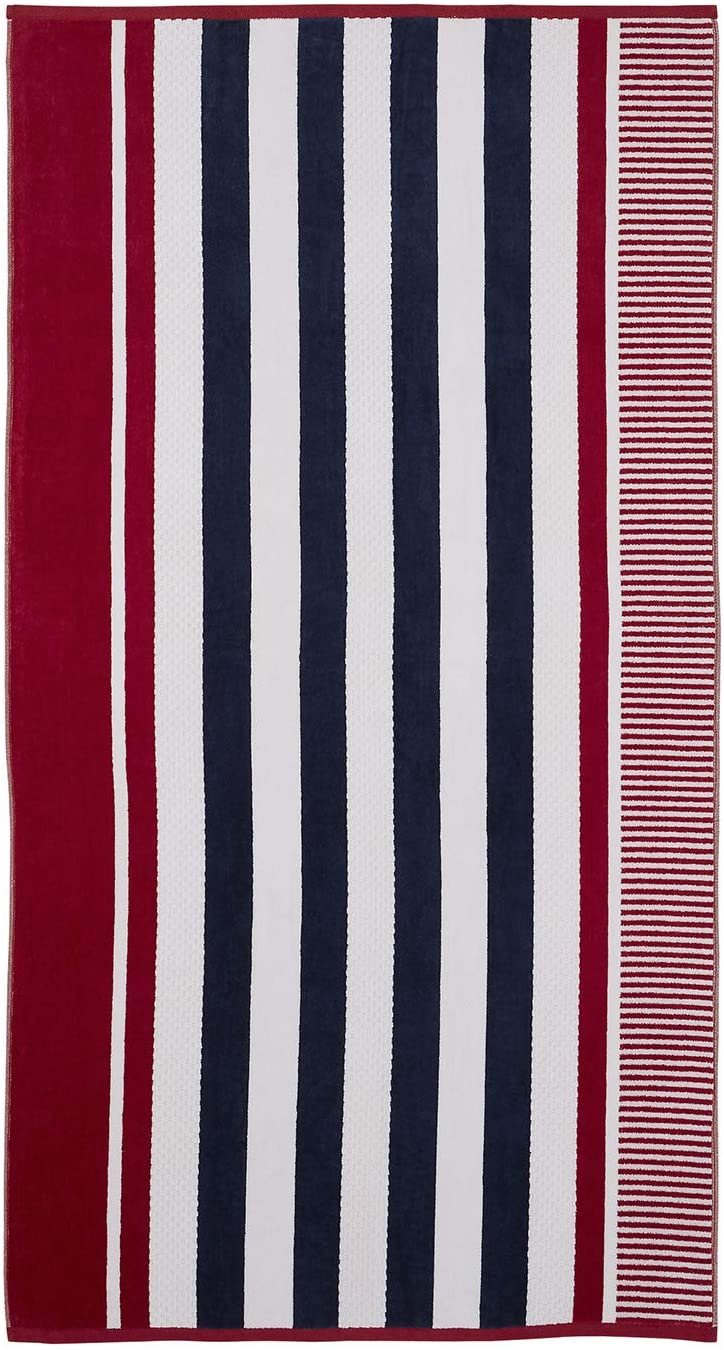 Image 0 of Checkered Texture Baked Apple Striped 100% Cotton Over-sized Beach Towel 34
