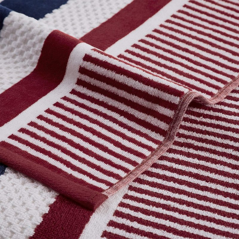 Image 2 of Checkered Texture Baked Apple Striped 100% Cotton Over-sized Beach Towel 34