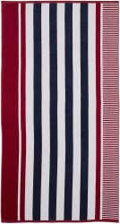 Checkered Texture Baked Apple Striped 100% Cotton Over-sized Beach Towel 34x64