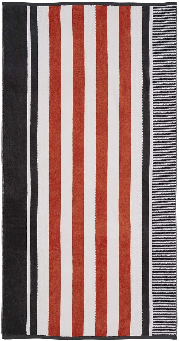 Image 0 of Checkered Texture Castlerock Striped 100% Cotton Over-sized Beach Towel 34