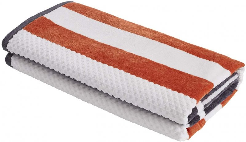 Image 1 of Checkered Texture Castlerock Striped 100% Cotton Over-sized Beach Towel 34