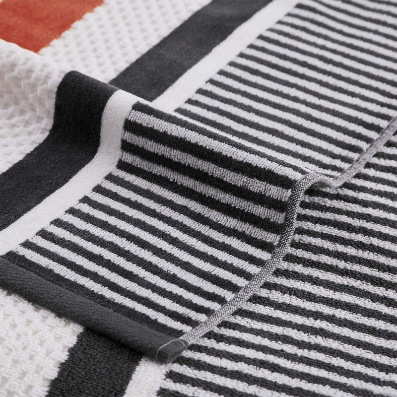Image 2 of Checkered Texture Castlerock Striped 100% Cotton Over-sized Beach Towel 34