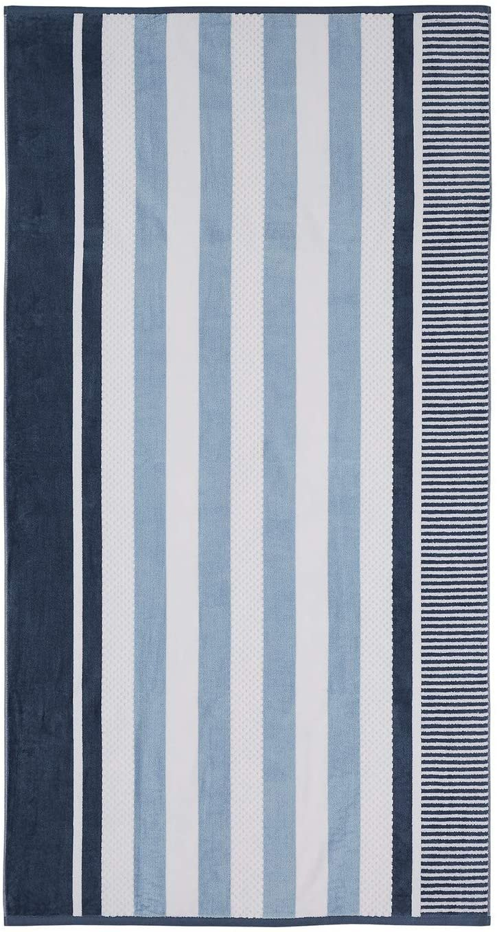 Image 0 of Checkered Texture Dusty Blue Striped 100% Cotton Over-sized Beach Towel 34