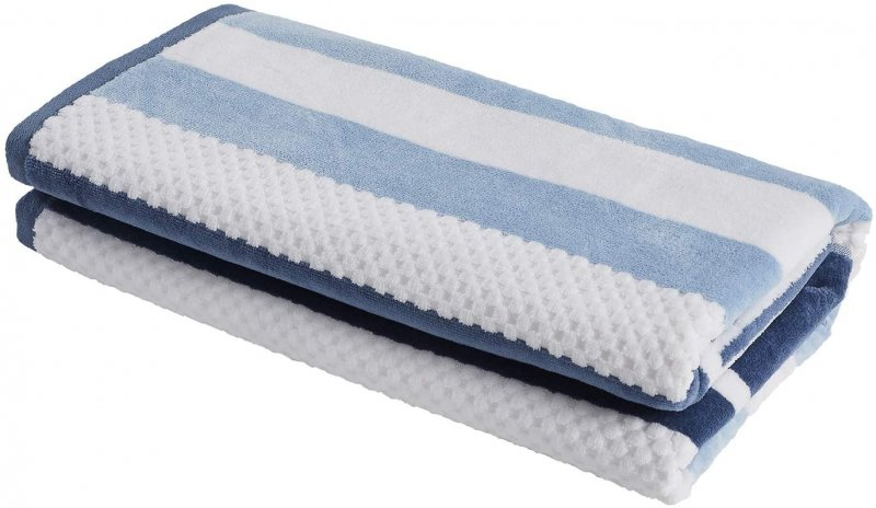 Image 1 of Checkered Texture Dusty Blue Striped 100% Cotton Over-sized Beach Towel 34