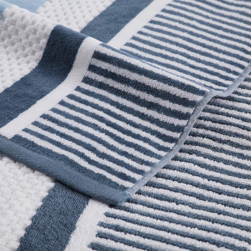 Image 2 of Checkered Texture Dusty Blue Striped 100% Cotton Over-sized Beach Towel 34