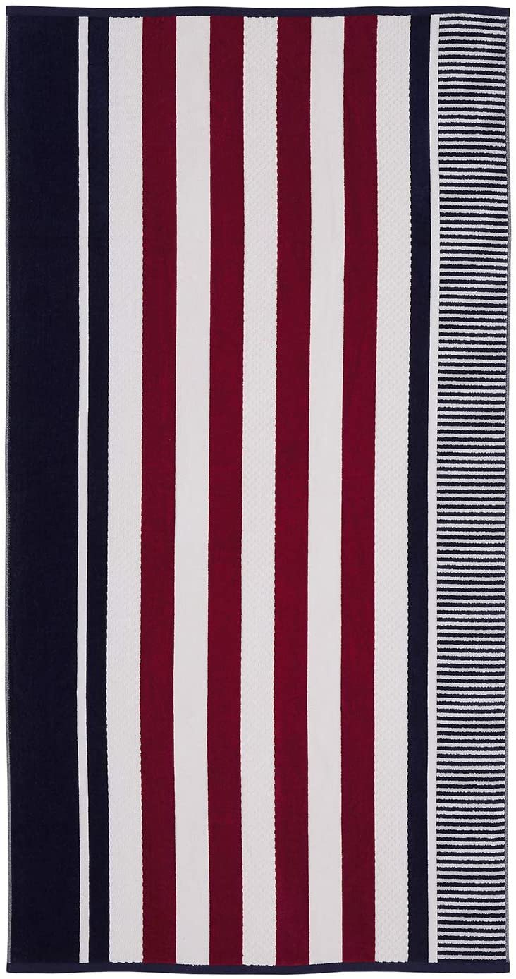 Image 0 of Checkered Texture Navy Blue Striped 100% Cotton Over-sized Beach Towel 34