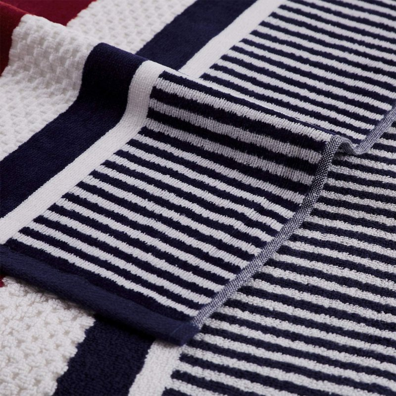 Image 2 of Checkered Texture Navy Blue Striped 100% Cotton Over-sized Beach Towel 34