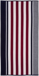 Checkered Texture Navy Blue Striped 100% Cotton Over-sized Beach Towel 34x64