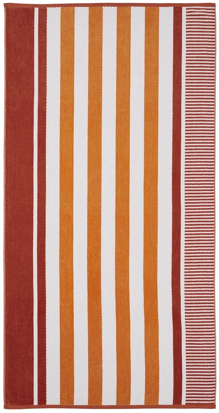 Image 0 of Checkered Texture Sorbet Striped 100% Cotton Over-sized Beach Towel 34