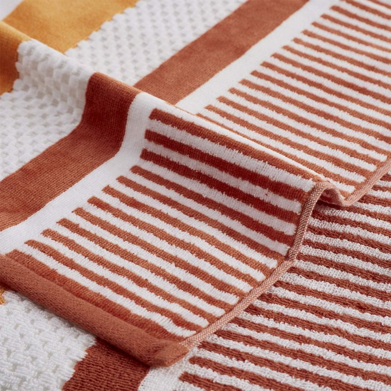 Image 2 of Checkered Texture Sorbet Striped 100% Cotton Over-sized Beach Towel 34