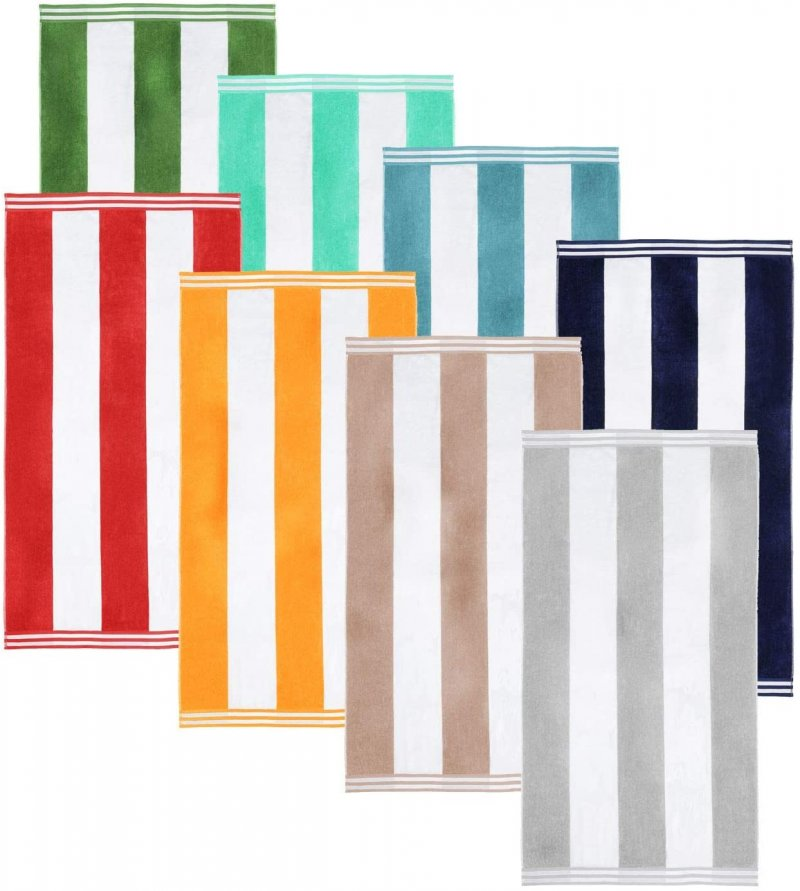 Image 1 of Cabana Stripes 100% Cotton Over-sized Beach Towel 34