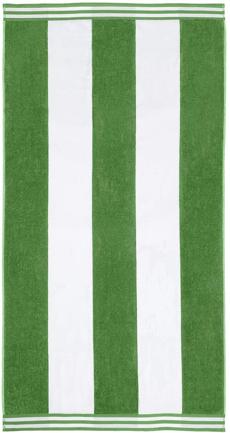 Dark Green Cabana Style Beach Towel