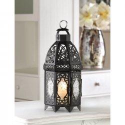 Black Lattice Candle Lantern Moroccan Style w/ Pressed Glass 12 High